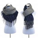 grossiste Vetement et accessoires: Écharpe tissu  Plaid Cap Blanc Bleu XXL Femmes