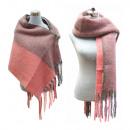 Großhandel Kleider: XXL Winter Schal  Scarf Fransen Strick Pink