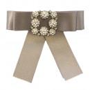 groothandel Tuin & Doe het zelf: Bow Broche Pin  Diamond Rhinestone Grey
