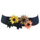 Großhandel Gürtel: Damen Gürtel  Blüten Stretch Taillen Blau