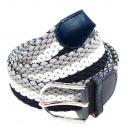 wholesale Belts: Unisex Braided Belt Belt Gray White Blue