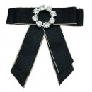 wholesale Electrical Installation: Bow Brooch Pin Diamond Rhinestone Black