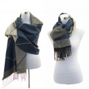 Damen Schal Winter  Tuch Plaid Cape Scarf Blau