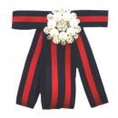 groothandel Tuin & Doe het zelf: Bow Broche Pin  Diamond Rhinestone Red Blue