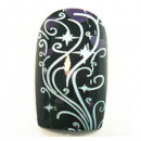 wholesale Nail Varnish: 12 Airbrush Nails  French Tips Black with pattern