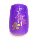 Großhandel Drogerie & Kosmetik: 12 Airbrush Nails Tips Lila mit Blumen