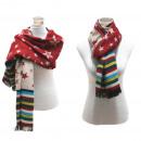 Großhandel Kleider: Damen Schal Winter  Tuch Plaid Scarf Stern Rot Grau