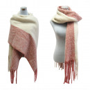 wholesale Dresses: XXL Winter Scarf  Scarf Fringe Knit Pink
