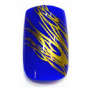 wholesale Nail Varnish: striped 12  Airbrush Nails Tips Blue Gold