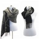 grossiste Vetement et accessoires: Femmes écharpe  d'hiver Plaid Cap Echarpe Noir