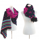 wholesale Dresses: Women scarf winter  scarf Plaid Scarf Star Pink