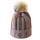 Großhandel Kopfbedeckung: Damen Mütze Strick  Bommelmütze Ornament Rosa