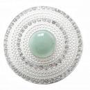 wholesale Pendant: Magnet Brooch Badge Rhinestone Strein Green Silver