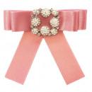 groothandel Tuin & Doe het zelf: Bow Broche Pin  Diamond Rhinestone Pink
