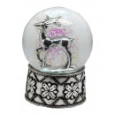 Snowglobe deer silver silver-base, 100mm