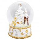 B-Ware Schneekugel Santa Baum weiß 150mm