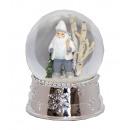 Schneekugel Spieluhr 14 cm Santa weiß silber Socke