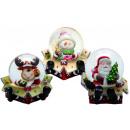 Schneekugel Lustige Weihnachtsfiguren 3fach