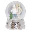 Schneekugel Spieluhr 14 cm Santa weiß silber Gesch