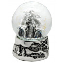 Snowglobe deer tree, silver-base, 100mm