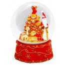 B-Ware Schneekugel Santa Baum rot 150mm