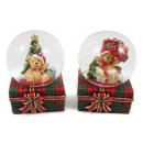 Schneekugel Mini Weihnachtsteddy 2fach