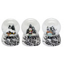 Mini snow globe winter silver base 3x