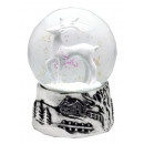 Snowglobe deer white, silver base 100mm