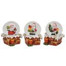 Schneekugel Santa auf Kamin 3fach