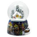 Schneekugel Hütte Schneemann Snowmotion, LED