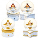 Mini-Schneekugeln Engel auf Dose weiß/silber/gold