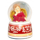 Snow globe with music box angel red 140mm