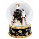 Schneekugel Santa Spieluhr, schwarz 150mm