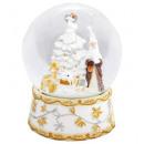 Schneekugel Santa Spieluhr, weiß,150mm