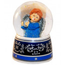 Blue angel harp music box snow globe 140mm