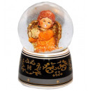 Terracotta angel harp music box snow globe 140mm