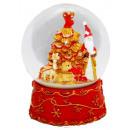 Schneekugel Weihnachtsmann  mit Spieluhr rot groß