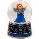 Blue angel music box snow globe 140mm shell
