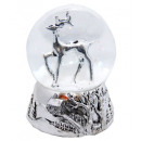 wholesale Snow Globes: Snowglobe Hirsch silver 140mm embossed base