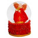 Schneekugel Engel mit Stern rot 85mm