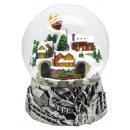 Mega-Schneekugel Weihnachtsdorf silber mit doppelt