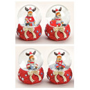 Snow Globe Christmas moose with knitted scarf 65mm