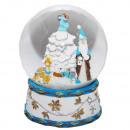 Restposten Schneekugel Santa Baum blau 150mm Blase