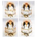 Schneekugel mit Engel weiß gold 90mm 4fach sort