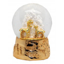 Snowglobe deer Tree, copper gold base 100mm