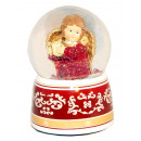 Snow globe angel  red Harp Music Box 140mm