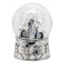 Snowglobe deer Tree, Silver Base 100mm
