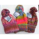 Großhandel Kopfbedeckung: Damen Strickmütze 3 farbliche Dessins