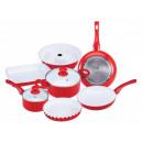 wholesale Pots & Pans: 9 pcs. Cooking and  Cookware  Red  pot baking pan