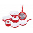 grossiste Gratin moule a patisserie: 9 pcs. SET  Casserole  Rouge  induction Vaisselle